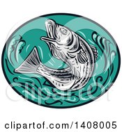 Clipart Of A Retro Sketched Striped Bass Rockfish Jumping In A Black And Turquoise Oval Royalty Free Vector Illustration by patrimonio