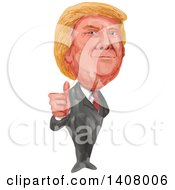 Watercolor Caricature Of Donald Trump Giving A Thumb Up