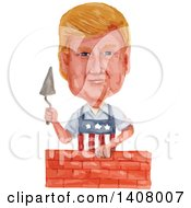Watercolor Caricature Of Donald Trump Wearing An American Apron And Laying A Brick Wall
