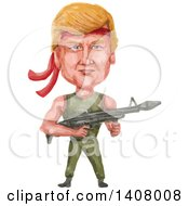 Watercolor Caricature Of Donald Trump As Rambo Holding A Machine Gun