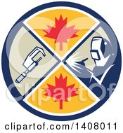 Clipart Of A Retro Millwright Caliper Welder And Maple Leaves In A Circle Royalty Free Vector Illustration