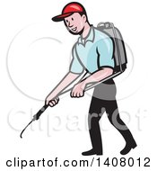 Retro Cartoon White Male Pest Control Exterminator Spraying