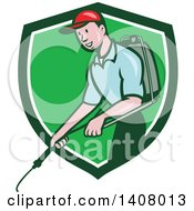 Retro Cartoon White Male Pest Control Exterminator Spraying In A Green And White Shield
