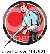 Retro Cartoon White Male Pest Control Exterminator Spraying In A Black White And Red Circle