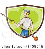 Clipart Of A Retro Cartoon White Male Gardener Holding A Hedge Trimmer Emerging From A Brown White And Green Shield Royalty Free Vector Illustration by patrimonio