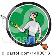 Clipart Of A Retro Cartoon White Male Gardener Holding A Hedge Trimmer Emerging From A Black White And Green Circle Royalty Free Vector Illustration by patrimonio