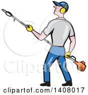 Poster, Art Print Of Retro Cartoon White Male Gardener Holding A Hedge Trimmer