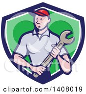 Retro Cartoon White Handy Man Or Mechanic Standing And Holding A Spanner Wrench In A Blue White And Green Shield