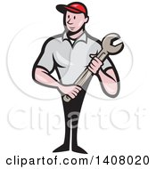 Poster, Art Print Of Retro Cartoon White Handy Man Or Mechanic Standing And Holding A Spanner Wrench