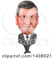 Watercolor Caricature Of Acting Prime Minister Of Spain Mariano Rajoy Brey