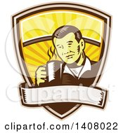 Clipart Of A Retro Woodcut Asian Man Holding A Hot Cup Of Coffee Emerging From A Shield With A Banner Royalty Free Vector Illustration