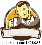 Clipart Of A Retro Woodcut Asian Man Holding A Hot Cup Of Coffee Emerging From A Brown White And Orange Circle With A Banner Royalty Free Vector Illustration