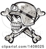 Retro Skull And Crossbones With A Biker Helmet