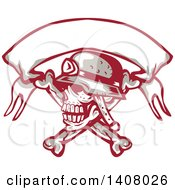Clipart Of A Retro Skull And Crossbones With A Biker Helmet And Blank Banner Royalty Free Vector Illustration