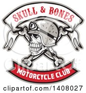 Clipart Of A Retro Skull And Crossbones With A Biker Helmet And Text Banners Royalty Free Vector Illustration