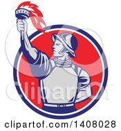 Clipart Of A Retro Spanish Conquistador Holding Up A Torch Emerging From A Blue White And Red Circle Royalty Free Vector Illustration