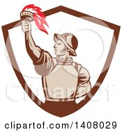 Clipart Of A Retro Spanish Conquistador Holding Up A Torch Emerging From A Brown And White Shield Royalty Free Vector Illustration