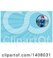 Retro Male Caucasian Carpenter With Folded Arms Holding A Hammer In A Circle Of Mountains And Blue Rays Background Or Business Card Design