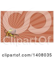 Clipart Of A Colorful Sketched Mosaic Angry Charging Bull And Brown Rays Background Or Business Card Design Royalty Free Illustration