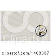 Cartoon Refrigeration And Air Conditioning Mechanic Or Plumber Cheetah Holding A Pressure Temperature Gauge And Monkey Wrench And Rays Background Or Business Card Design