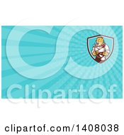 Clipart Of A Cartoon Refrigeration And Air Conditioning Mechanic Or Plumber Cheetah Holding A Pressure Temperature Gauge And Monkey Wrench And Blue Rays Background Or Business Card Design Royalty Free Illustration