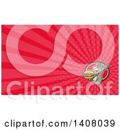 Clipart Of A Retro Donkey Holding A Cheeseburger And Rays Background Or Business Card Design Royalty Free Illustration by patrimonio