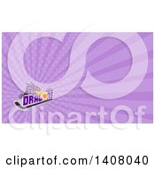 Clipart Of A Retro Purple Fire Breathing Dragon Over Text A Puck And Hockey Stick And Purple Rays Background Or Business Card Design Royalty Free Illustration