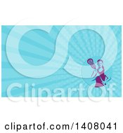 Clipart Of A Retro Female Lacrosse Player Holding A Stick And Blue Rays Background Or Business Card Design Royalty Free Illustration