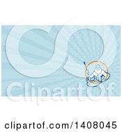 Clipart Of A Retro Man Neptune Holding Pressure Washer Wand And Blue Rays Background Or Business Card Design Royalty Free Illustration