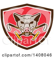 Clipart Of A Retro Wild Hog Boar Head Biting Crossed Polo Mallets In A Brown White And Red Shield Royalty Free Vector Illustration