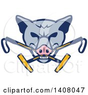 Clipart Of A Retro Wild Hog Boar Head Biting Crossed Polo Mallets Royalty Free Vector Illustration