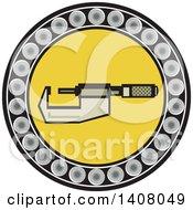 Retro Caliper Tool In A Ball Bearing Circle