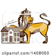 Clipart Of A Retro Crowned King Lion Resting A Paw On A House Royalty Free Vector Illustration