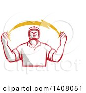 Retro Male Electrician Looking Up And Holding A Spanning Lightning Bolt