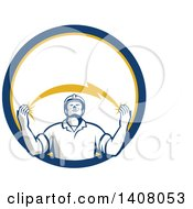 Retro Male Electrician Looking Up And Holding A Spanning Lightning Bolt In A Blue Yellow And White Circle
