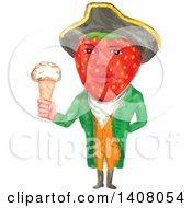 Watercolour Caricature Styled Victorian Gentleman With A Strawberry Head Wearing A Tricorn Hat And Holding An Ice Cream Cone