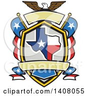 Clipart Of A Retro Bald Eagle Crest With The State Of Texas And American Themed Flags Royalty Free Vector Illustration by patrimonio