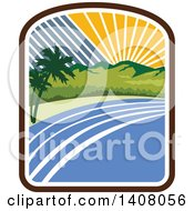 Clipart Of A Retro Tropical Landscape With Palm Trees Mountains And The Coast At Sunset Or Sunrise Royalty Free Vector Illustration