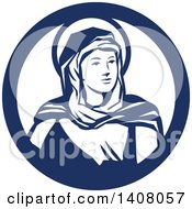 Retro Portrait Of The Blessed Virgin Mary Looking To The Right Inside A Blue And White Circle