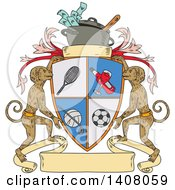 Sketched Sports Shield Crest With Monkeys And Crock Pot Of Money