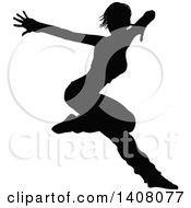 Clipart Of A Black Silhouetted Female Hip Hop Dancer Royalty Free Vector Illustration