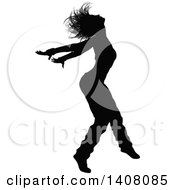 Clipart Of A Black Silhouetted Female Hip Hop Dancer Royalty Free Vector Illustration by AtStockIllustration