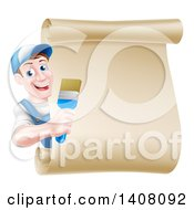 Happy Middle Aged Brunette White Male House Painter Holding A Brush Around A Scroll Sign