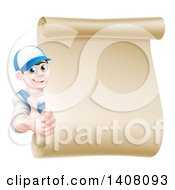 Clipart Of A Happy Young Caucasian Mechanic Man In Blue Giving A Thumb Up Around A Blank Scroll Sign Royalty Free Vector Illustration
