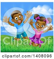 Clipart Of A Happy And Excited Black Boy And Girl Jumping Outdoors Royalty Free Vector Illustration