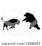 Clipart Of A Black Silhouetted Stock Market Bull Fighting A Bear Royalty Free Vector Illustration by AtStockIllustration