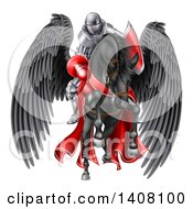 Clipart Of A 3d Fully Armored Medieval Jousting Knight Holding A Lance On A Black Pegasus Horse As They Charge Forward Royalty Free Vector Illustration