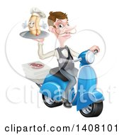 Clipart Of A White Male Waiter With A Curling Mustache Holding A Hot Dog On A Scooter With Pizza Boxes Royalty Free Vector Illustration by AtStockIllustration