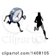 Clipart Of A Silhouetted Man Racing A Clock Character Royalty Free Vector Illustration