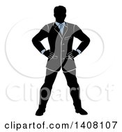 Clipart Of A Black White And Blue Silhouetted Business Man Standing With His Hands On His Hips Royalty Free Vector Illustration
